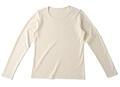 【竹布】 TAKEFU 長袖Tシャツ・レディース、M、オフホワイト(# 8306)