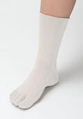 【竹布】 TAKEFU 5本指ソックス(男女兼用)、25〜27cm、オフホワイト(# 8619)