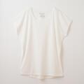 【竹布】 TAKEFU フレンチスリーブTシャツ・レディース、オフホワイト、M〜L(# 8653)