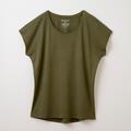 【竹布】 TAKEFU フレンチスリーブTシャツ・レディース、オリーブ、M〜L(# 8654)