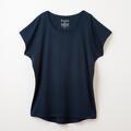 【竹布】 TAKEFU フレンチスリーブTシャツ・レディース、ネイビー、M〜L(# 8655)