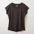 【竹布】 TAKEFU フレンチスリーブTシャツ・レディース、チャコール、M〜L(# 8656)