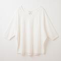 【竹布】 TAKEFU ドルマン七分袖Tシャツ・レディース、オフホワイト、M〜L(# 8657)