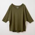 【竹布】 TAKEFU ドルマン七分袖Tシャツ・レディース、オリーブ、M〜L(# 8658)