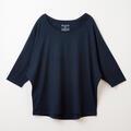 【竹布】 TAKEFU ドルマン七分袖Tシャツ・レディース、ネイビー、M〜L(# 8659)