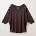 【竹布】 TAKEFU ドルマン七分袖Tシャツ・レディース、チャコール、M〜L(# 8660)